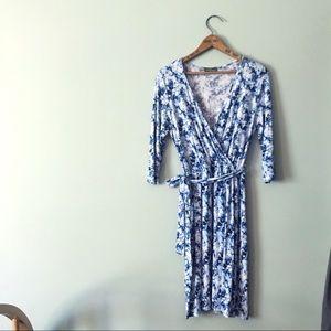 Market & Spruce Blue Floral Faux Wrap Dress